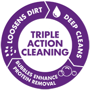 CLEAR CARE® Solution offers Triple Action Cleaning power.